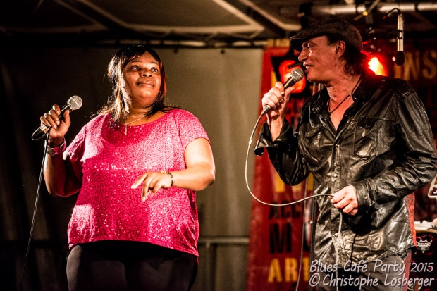 Ms Nickki & Amhed Mouici (vocals). Ms Nickki & the Memphis Soul Connection @ 3ème Blues Café Party, Jardin du Millenium, l'Isle-d'Abeau, France, 6.06.2015. (c) Christophe Losberger