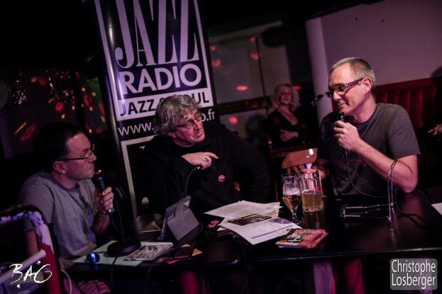 Cédric Vernet, Francis Rateau (Blues Café), Nicolas Roggli (guitar, vocals). Sofie Reed and deltaR @ Blues Café & BAG Thursday, Geneva, 28-jan-2016. (c) Christophe Losberger