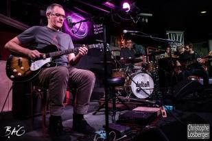 Nicolas Roggli (guitar, vocals), Jean-Philippe Mercier (drums), Gabriel Scotti (bass), Cédric Vernet, Francis Rateau (Blues Café). Sofie Reed and deltaR @ Blues Café & BAG Thursday, Geneva, 28-jan-2016. (c) Christophe Losberger