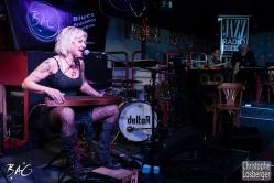 Sofie Reed (vocals, lap steel guitar, dulcimer, harmonica), Cédric Vernet, Francis Rateau (Blues Café). Sofie Reed and deltaR @ Blues Café & BAG Thursday, Geneva, 28-jan-2016. (c) Christophe Losberger