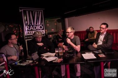 Cédric Vernet, Francis Rateau (Blues Café), Nicolas Roggli (guitar, vocals), Enno Geissler (BAG), Sofie Reed, Philippe Ducommun. Sofie Reed and deltaR @ Blues Café & BAG Thursday, Geneva, 28-jan-2016. (c) Christophe Losberger