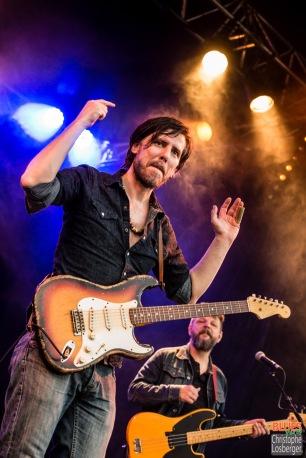 Guy Verlinde (vocals, guitar, harmonica), Karl Zosel (bass). Guy Verlinde & The Mighty Gators @ 4ème Blues Party, Les Jardins du Millenium, l'Isle d'Abeau (France), 04.06.2016. (c) Christophe Losberger