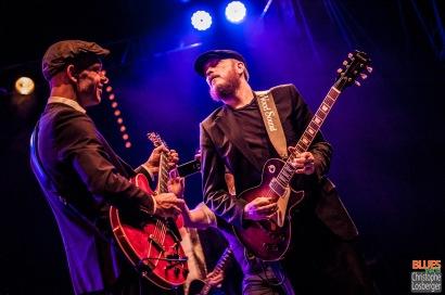 Thorbjørn Risager (vocals, guitar), Peter Skjerning (guitar). Thorbjørn Risager & the Black Tornado @ 4ème Blues Party, Les Jardins du Millenium, l'Isle d'Abeau (France), 04.06.2016. (c) Christophe Losberger