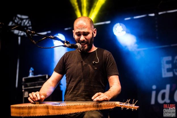 Aymeric Maini (vocals, guitar). Aymeric Maini @ 5ème Blues Party, Les Jardins du Millenium, l'Isle d'Abeau (France), 10.06.2017. (c) Christophe Losberger