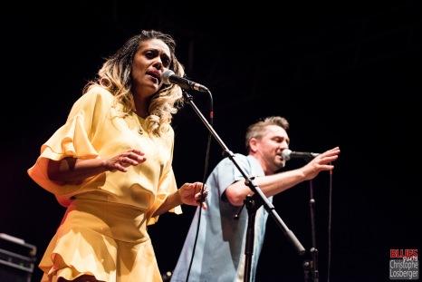 Bonita Niessen (vocals), Michael Arlt (vocals, harmonica). Bonita and the Blues Shacks @ 5ème Blues Party, Les Jardins du Millenium, l'Isle d'Abeau (France), 10.06.2017. (c) Christophe Losberger