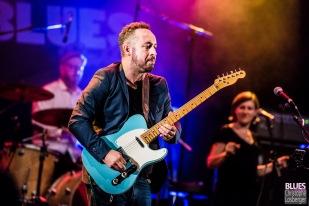 Arnaud Fradin (vocals, guitar), Laurence Le Baccon (vocals), Richard Housset (drums). Malted Milk @ 6ème Blues Party, Les Jardins du Millenium, l'Isle d'Abeau (France), 09.06.2018. (c) Christophe Losberger