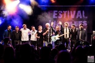 Francis Rateau (Blues Café), Cédric Vernet (Blues Café), Arnaud Fradin (vocals, guitar), Laurence Le Baccon (vocals), Pierre-Marie Humeau (trumpet), Sylvain Fetis (saxophone), Eric Chambouleyron (guitar), Richard Housset (drums), Igor Pichon (bass), Damien Cornélis (keyboards). Malted Milk @ 6ème Blues Party, Les Jardins du Millenium, l'Isle d'Abeau (France), 09.06.2018. (c) Christophe Losberger
