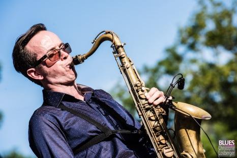 Drew Davis (saxophone, vocals). Wax & Boogie Rhythm Combo feat. Drew Davis @ 6ème Blues Party, Les Jardins du Millenium, l'Isle d'Abeau (France), 09.06.2018. (c) Christophe Losberger